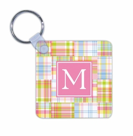boatman geller madras patch pink key chain