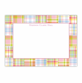 boatman geller madras patch pink large flat notecard