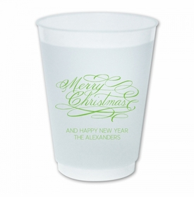 Merry Christmas Script Cups