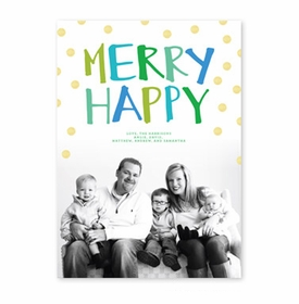 boatman geller merry happy green & blue photocard