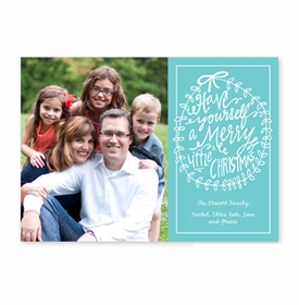 boatman geller merry little christmas teal photocard