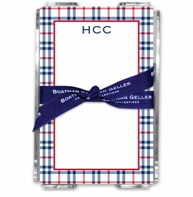 boatman geller miller check navy & red acrylic note sheets