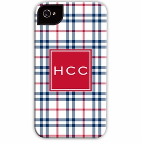 boatman geller miller check navy & red cell phone case