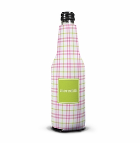 boatman geller miller check pink & green bottle koozie