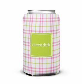 boatman geller miller check pink & green can koozie
