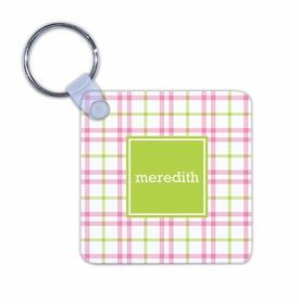 boatman geller miller check pink & green key chain