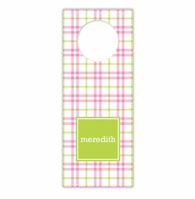boatman geller miller check pink & green wine tags