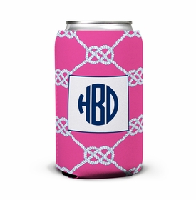 boatman geller nautical knot raspberry can koozie