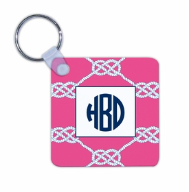 boatman geller nautical knot raspberry key chain