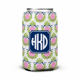 boatman geller pineapple repeat pink can koozie