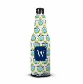 boatman geller pineapple repeat teal bottle koozie