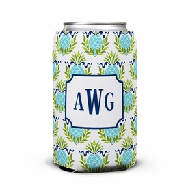 boatman geller pineapple repeat teal can koozie