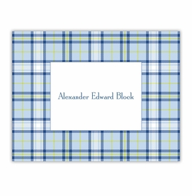 boatman geller plaid blue foldover note