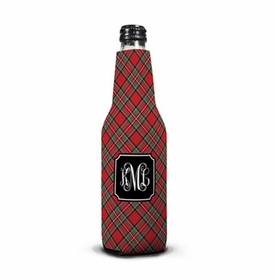 boatman geller plaid red bottle koozie