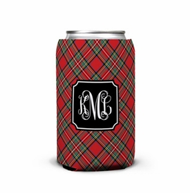 boatman geller plaid red can koozie
