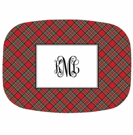 boatman geller plaid red platter