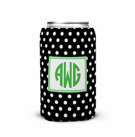 boatman geller polka dot black can koozie