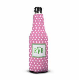 boatman geller polka dot bubblegum bottle koozie
