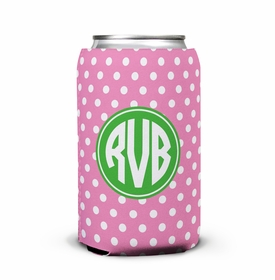 boatman geller polka dot bubblegum can koozie