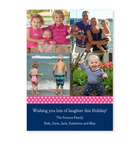 boatman geller polka dot ribbon - raspberry & navy photocard