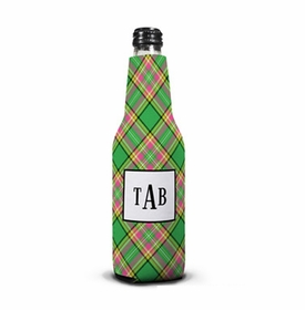 boatman geller preppy plaid bottle koozie