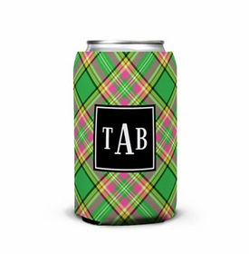 boatman geller preppy plaid can koozie