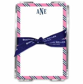 boatman geller repp tie pink & navy acrylic note sheets