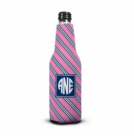 boatman geller repp tie pink & navy bottle koozie