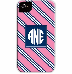 boatman geller repp tie pink & navy cell phone case