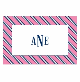boatman geller repp tie pink & navy disposable placemats