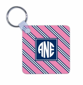boatman geller repp tie pink & navy key chain