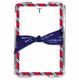 boatman geller repp tie red & navy acrylic note sheets