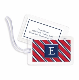 boatman geller repp tie red & navy bag tags