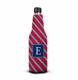 boatman geller repp tie red & navy bottle koozie