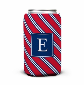 boatman geller repp tie red & navy can koozie