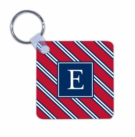 boatman geller repp tie red & navy key chain