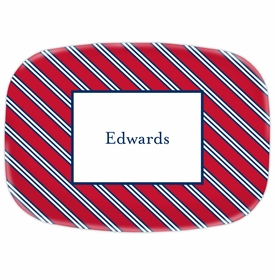 boatman geller repp tie red & navy platter