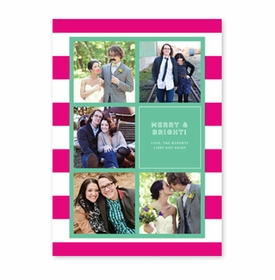 boatman geller rugby collage hot pink & teal photocard