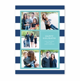 boatman geller rugby collage navy & aqua photocard
