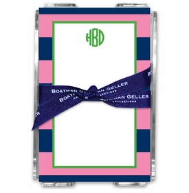 boatman geller rugby navy & pink acrylic note sheets