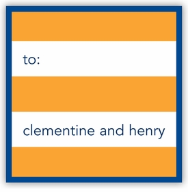 boatman geller rugby orange & navy border square sticker