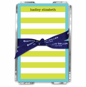 boatman geller rugby stripe lime/blue brdr acrylic note sheets