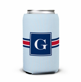 boatman geller seersucker band red & navy can koozie