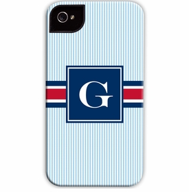 boatman geller seersucker band red & navy cell phone case