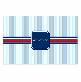 boatman geller seersucker band red & navy disposable placemats