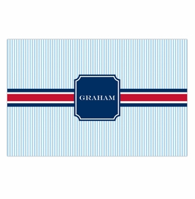 boatman geller seersucker band red & navy placemat