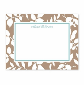 boatman geller silo leaves mocha small flat notecard