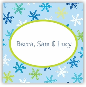 boatman geller snowflake light blue sticker