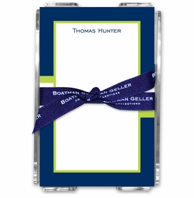 boatman geller stripe navy & lime acrylic note sheets