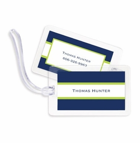 boatman geller stripe navy & lime bag tags